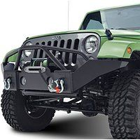 Restyling Factory 07-16 Jeep Wrangler JK Black Textured Full Width Front Bumper With Fog Lights Hole and Winch Plate (Black)
