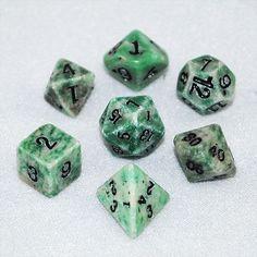Stone Dice Green Jade 12mm Set and Bag