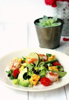 Grilled Shrimp Summer Salad. So good and healthy from Yummy Mummy