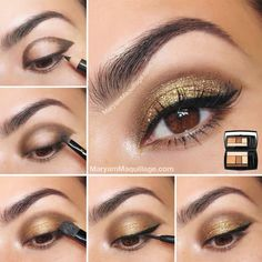 You can use a slightly lighter color and skip the gold glitter shadow for an everyday take on this look. Read the rest of the tutorial here.