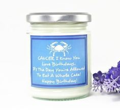 Cancer Candle...  Zodiac Gift | Birthday Gift | Friend Gift | Astrology Gift | Personalised Gift | Horoscope Candle | Star Sign | July