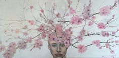 Queen of Flowers, Queen Peach Flowers, oil on panel, 120 x 60 cm, by Sara Calcagno, italian painter
