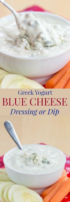 Greek Yogurt Blue Cheese Dip or Dressing - a recipe for an easy and healthy way to make that favorite creamy salad dressing or dip for wings, veggies, or chips.   cupcakesandkalechips.com   gluten free, low carb, vegetarian