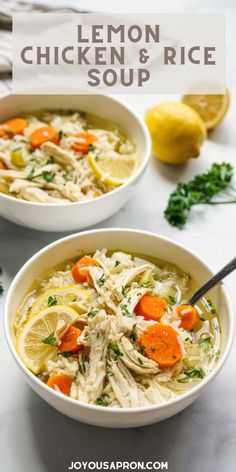 Lemon Chicken and Rice Soup - healthy one-pot meal - great as easy weeknight dinners! Chicken broth infused with herbs and lemon juice, combined with carrots, celery and shredded chicken! This comfort food takes 30 minutes only! #joyousapron #chicken #soup #healthy #easy #comfortfood #onepot #easydinner #recipe #healthy #joyousapron