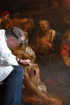 art conservator restoration  conservation  Art. Preservation old new paintings,  canvas, paper or panel. Polychrome wood statues, stone sculptures  carriers. Expertise offer made free. ART conservator restorer Frederik Cnockaert expert craftsman  highest quality  www.art-restaurateur.fr  info@kerat.be  painting during restoration in atelier kerat. conservation Art. Preservation old new paintings, canvas, copper panel. Polychrome wood statue, stone sculpture  carriers. Expertise offer made…