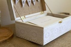 Burlap and Lace CARDS Box with Bunting Banner for Rustic Country Wedding, Shabby Chic Cards Box, Rustic Cards Box. $37.00, via Etsy.
