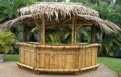 Tropical Garden Furniture - Bamboo Tiki Huts, Bars, Benches, Lights and Crafts+ Beach Entry Pool, Backyard Beach, Tropical Backyard, Tropical Landscaping, Outdoor Landscaping, Canopy Outdoor, Outdoor Decor, Outdoor Living, Outdoor Bars