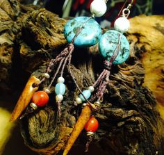 Handmade fringe boho style dangle earrings with real turquoise disks