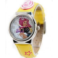 New Yellow Band PNP Shiny Silver Watchcase Children Watch KW060C