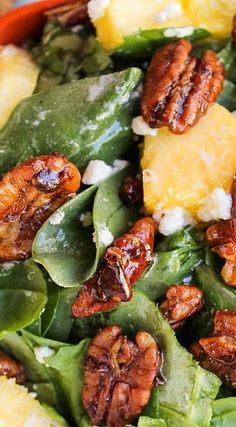 Pineapple Spinach Salad with feta and candied pecans. This twist on Strawberry Spinach Salad is easy and bright-tasting! Spinach Salad Recipes, Spinach Strawberry Salad, Vegetarian Recipes, Cooking Recipes, Healthy Recipes, Healthy Salads, Healthy Eating, Fruit Salads, Snacks