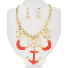 "Orange Gold Tone Sea Anchor Necklace Set Compliant / Metal / Fish Hook (earrings) / Sea Life / Anchor Charm / Necklace & Earring Set •   LENGTH : 16 1/2"" + EXT •   EARRING : 1 1/8"" •   DROP : 3 1/2""  •   GOLD/RED R.E.A.L Jewelry Jewelry Necklaces"
