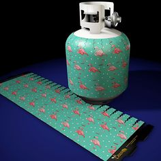 Pink Flamingo On Teal Pattern Jack-its at www.jackits.com. Your source for the highest quality decorative removable magnetic propane tank covers.