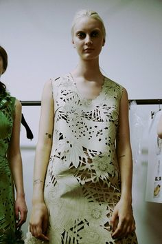 Laser cut white leather backstage at Giles SS15 LFW. More images here: http://www.dazeddigital.com/fashion/article/21728/1/giles-ss15