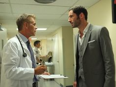 Season 1 Eps 7 Pictured: (l-r) Harry Hamlin as Dr. Warren Rush, Tom Ellis as Dr. William Rush -- (Photo by: Alan Zenuk/USA Network)