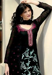 Dreamy variation on shape and forms compliment your style with tradition. The dazzling black georgette churidar suit have amazing embroidery patch work is done with resham, sequins, stone and lace work. Beautiful embroidery work on kameez is stunning. The entire ensemble makes an excellent wear. Matching santoon churidar and chiffon dupatta is available with this suit. The semi stitched kameez can be customized upto 42 inches. Slight Color variations are possible due to differing screen and…