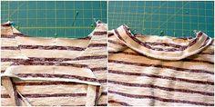 Halssteifen Jerseyshirt nähen Jersey Shirt, Shirts, Striped Fabrics, Sewing Patterns, Dress Shirts, Shirt