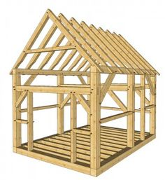 12x16 Timber Frame Shed  -  This 12′ x 16′ three bent timber frame shed has two doors and the roof pitch is 12/12. One door is a large door on the gable end. It is 6′ wide. The second door is on the side eave wall for people to access the inside of the shed.  http://timberframehq.com/timberframehouseplansandkits/12x16-timber-frame-shed-plans/