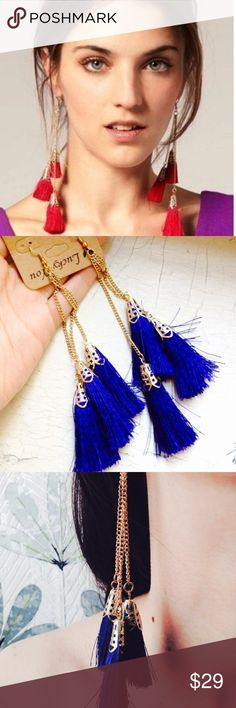Brand new hand made Lotus blue tassel earrings Brand new never worn beautiful blue tassel earrings from Lotus by 17L. Gold plated with gorgeous blue tassels. So pretty! Lotus by 17L Jewelry Earrings