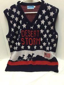 Operation-Desert-Storm-Sweater-Vest-Red-White-Blue-Mens-M-Merremont-Knitwear-Vtg