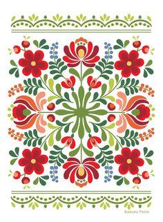 Ungarische Volkskunst-Rot-Blumen - Indispensable address of art Hungarian folk art red flowers Hungarian Embroidery, Folk Embroidery, Learn Embroidery, Embroidery Stitches, Polish Embroidery, Embroidery Tattoo, Machine Embroidery, Folk Art Flowers, Red Flowers