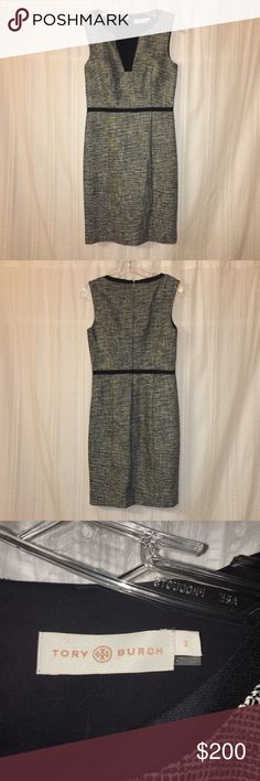 Tory Burch dress Knee length Tory Burch dress, black and white tweed, fitted sheath dress perfect for work. Excellent condition.  Size 2 - worn once. Tory Burch Dresses