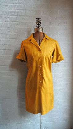 70s Harvest Gold Shirt Dress