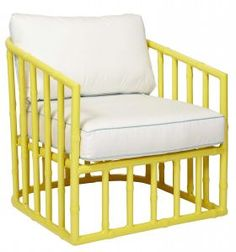 Love the clever use of yellow paint on the faux bamboo to really bring this chair to life!