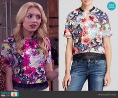 Emma's floral top on Jessie.  Outfit Details: http://wornontv.net/52914/ #Jessie