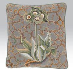 """Lichen Auriculas by By Kaffe Fassett.  14.5"""" x 14.5"""". 37 cm x 37 cm.  12 holes to the inch.  Ehrman wools.  73$."""