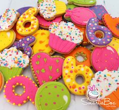 Colourful party cookies - SmartieBox Cake Studio