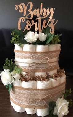 Excited to share this item from my #etsy shop: Rustic Diaper Cake -- Neutral Diaper Cake -- Floral Diaper Cake -- Burlap Diaper Cake -- Rose Gold Glitter Baby Cake Topper