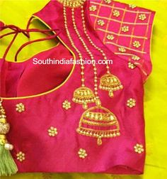 Blouse designs 55 Latest Maggam Work Blouse Designs that will inspire you - Wedandbeyond Wonderful W Hand Work Blouse Design, Fancy Blouse Designs, Bridal Blouse Designs, Blouse Neck Designs, Blouse Styles, Latest Maggam Work Blouses, Jhumka Designs, Jewellery Designs, Mirror Work Blouse