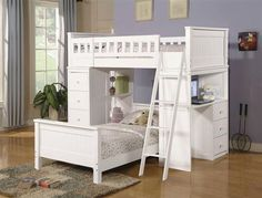 Twin Loft Bed w/ Chest Hutch Desk Built-in ladder to the upper twin bunk bed Desk with drawers Built in storage drawers Storage shelves Drawer pulls Willoughby Collection White finish Hardwood solids and veneers Sturdy and durable construction Lower Bed, Mattress & bedding sold separately Assembly required Don't miss your chance to own this beautiful piece at a discounted price! Item Description: The charming and functional Willoughby White Twin Loft Bed combines storage, versatility and…