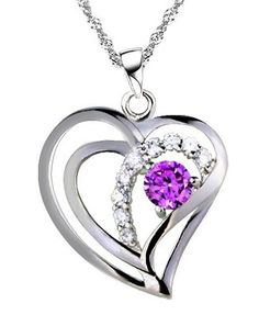 Rhodium Plated 925 Silver Diamond Accent Amethyst Heart Shape Pendant Necklace 18-sn3600  #Rhodium_Plated_Silver_Diamond_Accent_Heart #chains #necklaces# jewelry# accessories #rings #pendants