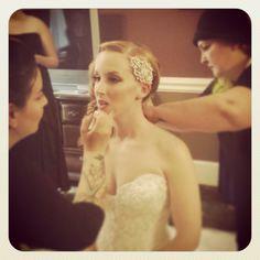Robin & Chrissi working on the bride yesterday! #salonheadcandy #weddings #weddinghair #weddingmakeup #retro #redhead #talent #teamwork #inspiration #awesome #sytycs #salonlife #follow #glamwaves #gratitude #hairstyling #longhair #lpweeklydo #longhairdontcare #livethelifeyoulove #vintage #beautiful #bumbleandbumble #makeup #mua
