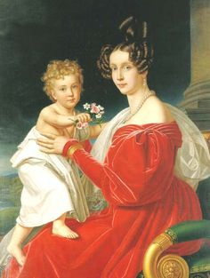Grandduchess Sophie of Austria, holding her son, the future Emperor Franz Josef…