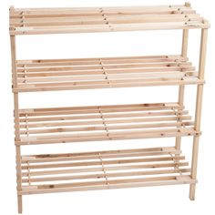 Keep your shoes organized and safe with this truly lovely blonde wooden shoe rack. This durable and spacious shoe rack can easily hold up to twelve pairs of shoes, or any other kind of footwear you might have.