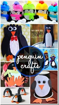 Can't get enough of penguins! From big ones, to ones made from footprints, to tiny ones made from egg cartons. Cute winter crafts for preschoolers, kindergartners and first graders! #penguincrafts #arcticanimals #winterunit