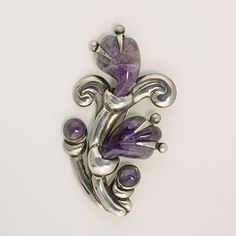 Hector Aguilar large Silver and Carved Amethyst Floral Pin