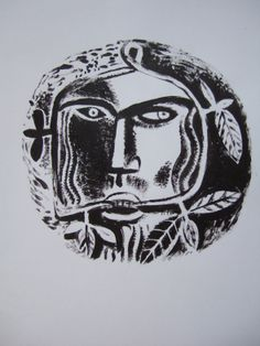 """""""Green Man"""" by Clive Hicks-Jenkins from """"The Foliate Head"""" by Marly Youmans, 2012 Man Projects, Collection Of Poems, Green Man, Deities, Printmaking, Mystic, Illustration, Lino Cuts, Artwork"""