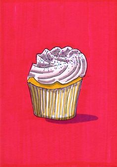 Vainilla Cupcake - 5 x 7 pulgadas impresión de la ilustración Original