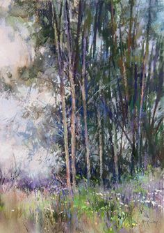 Textures of Spring by Richard McKinley Pastel ~ 12 x 9 - Painting Subjects Pastel Landscape, Abstract Landscape, Landscape Paintings, Watercolor Trees, Watercolor Landscape, Watercolor Paintings, Watercolour, Pastel Drawing, Pastel Art