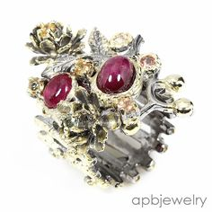 Handmade Fine Art Natural Ruby 925 Sterling Silver Ring Size 7.25/R34565 #APBJewelry #Ring