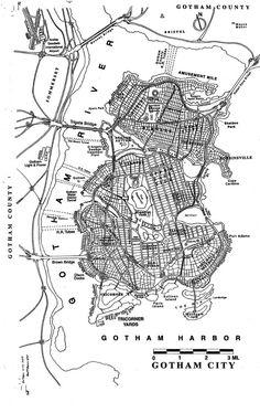 Batman Urbanism: Detailed Maps of Gotham City   maps   Pinterest ...