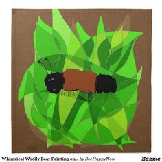 Whimsical Woolly Bear Painting on Dinner Napkins Dinner Napkins, Dinner Plates, Customized Gifts, Personalized Gifts, Bear Paintings, Dining Decor, Cloth Napkins, Pikachu, Whimsical