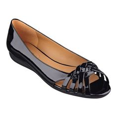 "Beautiful braiding charm these elegant little peep toe flats. Padded footbed for all-day comfort. Leather upper. Man-made lining and sole. Imported. 1/4"" rubber sole. Peep toe flats."