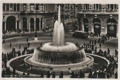 C'ERA UNA VOLTA GENOVA : Piazza De Ferrari - 1936  inauguration of the large fountain