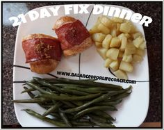 21 Day Fix Dinner: His - Green beans (2 green), red potatoes cooked in EVOO (2 yellow), Sweet Bacon Wrapped Chicken Breasts (2 red ) Recipe for chicken here -----> http://www.balancedforlifecoach.com/sweet-bacon-wrapped-chicken-breasts/