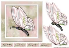 Beautiful Butterfly In Pink on Craftsuprint designed by Marijke Kok - Beautiful design for any occasion in soft pink pastel. - Now available for download!