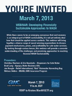 """Register for the """"Developing Financially Sustainable Approaches to WASH"""" Webinar https://attendee.gotowebinar.com/register/7234968278896552960"""